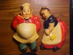 """Pair Old Vtg Chalkware Kitchen Chef Cook Wall Hangings, 9 1/2"""" tall"""