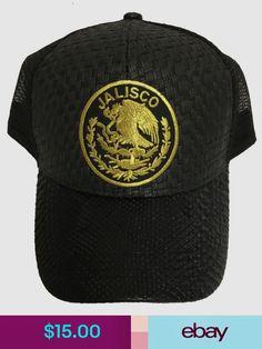 cedf330be0a52 Jalisco mexico logo federal hat gorra de palma visera de piel black mesh  trucker
