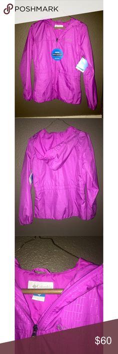 NWT Fuchsia Columbia rain jacket XS XS Fuchsia Columbia rain jacket, with tags! Absolutely adorable,  just not my size Columbia Jackets & Coats Utility Jackets