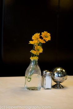 Flowers on a Table at EAT Restaurant in New Orleans