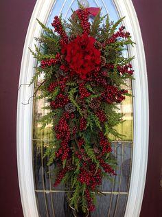 "Christmas Wreath Winter Wreath Holiday Vertical Teardrop Swag Door Decor..""Seasons Greetings"" Red w/ Red. $80.00, via Etsy."