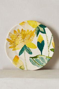 Garden Buzz Dessert Plate 3 of 3 mothers day Pottery Painting Designs, Pottery Designs, Paint Designs, Ceramic Clay, Ceramic Plates, Ceramic Pottery, Painted Plates, Hand Painted Ceramics, China Painting