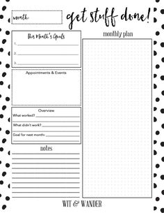 Get Stuff Done Monthly Planner - Wit & Wander for By Dawn Nicole Photo