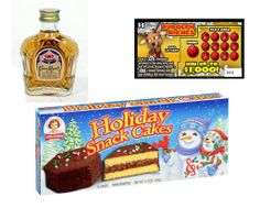 fun Christmas gift ideas: a box of snack cakes, a mini bottle of liquor (available at your local liquor store), and a lottery ticket.