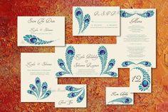 PRINTABLE ROYAL PEACOCK Invitation Suite Diy Wedding Pdf Template Custom Design Anniversary Engagement Decor Program Modern Regency Indian. $109.75, via Etsy.