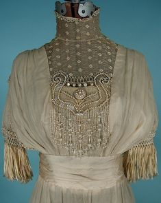 "c. 1910/1911 Ecru ""Artificial Silk"" Fringe, Beaded and Lace Trained Wedding Gown"