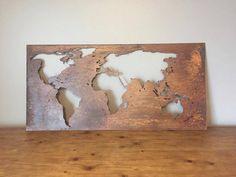 Grande carte du monde, 20 « X 40 » carte du monde patine, carte du monde métal…