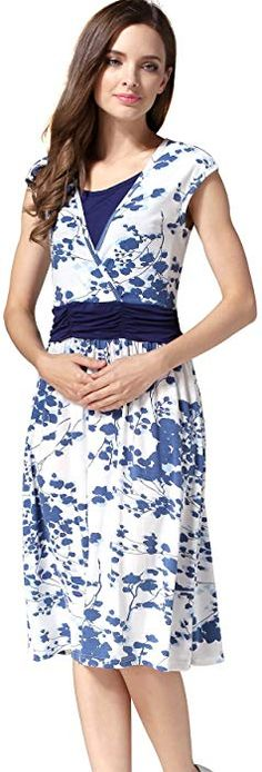 6fe297f10764a Emotion Moms Flower Maternity Clothes Breastfeeding Nursing Dresses for  Pregnant Women (Large, Blue) at Amazon Women's Clothing store: