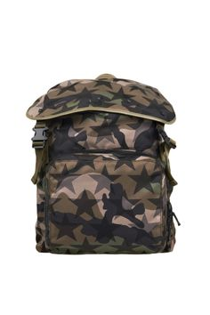 Valentino Garavani star camouflage pattern backpack with two-clip buckle, internal drawstring closure, open compartment and external zip pocket