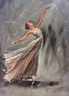 """ IN GREY... ""- ballerina liGHt ORIGINAL OIL PAINTING, GIFT, PALETTE KNIFE by Monika Luniak"