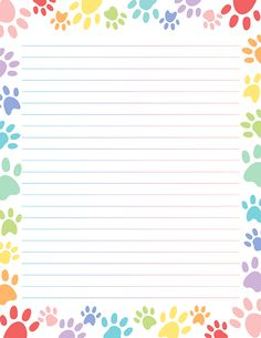 Free printable pastel paw print stationery for x 11 paper. Available in JPG or PDF format and in lined and unlined versions. Printable Lined Paper, Free Printable Stationery, Free Printables, Notebook Paper, Instagram Design, Stationery Paper, Note Paper, Writing Paper, Lettering