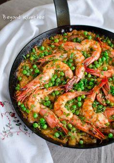 Kimchi Chorizo Shrimp Paella Recipe