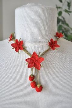 OYA Silk Needle Lace Necklace Hand made Turkish lace by OYASHOP, $60.00 by nanette