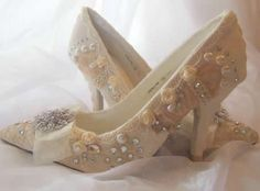 Crystal Wedding Shoes   Vintage Lace And Crystal Wedding Shoes   Women Fashion and Accessories