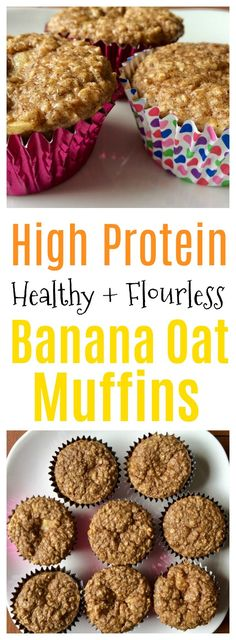 Flourless Banana Oat Protein Packed Muffins - Write Your Story - delicious HEALTHY flourless high protein banana oat muffins. low fat high protein great source of e - High Protein Snacks, Pancakes Protein, Banana Protein Muffins, Protein Oatmeal, Banana Oats, High Protein Recipes, Healthy Muffins, Protein Foods, Protein Bread