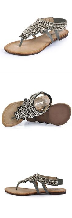 858ef0bfc5be Sandals in sand traps bohemia beaded retro vintage beach sandals peep toe  slip on flat sandals