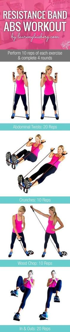 RESISTANCE BAND AB WORKOUT | Click for the full fitness plan by LaurenGleisberg.com