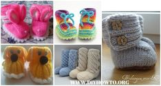 Collection of Knit Ankle High Baby Booties Free Patterns Instructions: knit rainbow booties, UGG booties, animal booties, wrap around booties and Knit Slippers Free Pattern, Baby Booties Knitting Pattern, Baby Knitting Patterns, Baby Patterns, Free Knitting, Free Crochet, Crochet Pattern, Knit Baby Shoes, Crochet Baby Booties