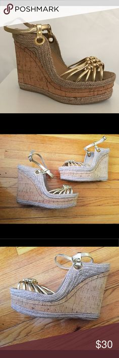 """H by Halston leather gold cork wedges 9.5 These are gorgeous and perfect for summer. Worn once around the house trying to get them to work but wasn't able to after foot surgery. Excellent pre-loved condition. No flaws. 5.5"""" wedge height, 2"""" platform. H by Halston Shoes Wedges"""