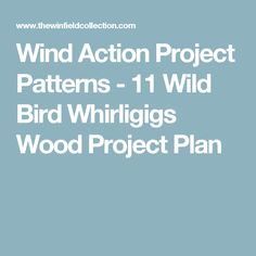 Wind Action Project Patterns - 11 Wild Bird Whirligigs Wood Project Plan