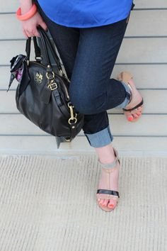 cobalt blouse; Express skinny jeans; Coach purse; Nine West shoes