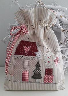Bag & Pouch - RESERVED / utensil / bag for filling .- Bag & Pouch – RESERVED / utensil / bag for filling – a unique product by Feinerlei on DaWanda - Christmas Sewing, Christmas Bags, Christmas Projects, Christmas Stockings, Christmas Patchwork, Sewing Crafts, Sewing Projects, Fabric Gift Bags, Patchwork Bags