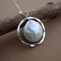 Hammered Circle and Coin Pearl Necklace All Sterling Silver bridal jewelry - RADIANT