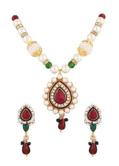Bollywood Red Green Stone Party Wear Indian White Pearl Necklace Pendant Set #natural_gems15