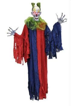 Hanging Evil Clown Halloween Prop Yard Decor 60 Inches