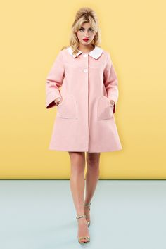 The Loveheart Coat - Pink, by Tara Starlet   Cute retro/sixties style trapeze coat for spring in pastel pink with heart pockets and contrasting white collar.