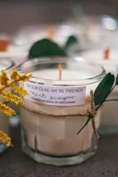 "always rooney: ""I'm Soy Glad We're Friends"" Candles"