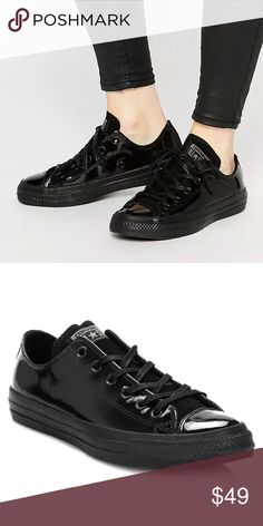 NEW: Converse Chuck Taylor Black Patent Leather Brand New!! Patent leather.  This Converse is another classic edition of the ever popular All Star Chuck Taylor. Patent leather upper, suede tongue for comfort and vulcanized toe cap. Lace up fastening, metal eyelets and signature diamond tread rubber sole. Converse branding patch to the tongue and logo to the heel. Converse Shoes Sneakers