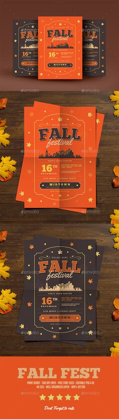 Fall Festival Flyer Design Template - Events Flyers Design Template PSD, AI Illustrator. Download here: https://graphicriver.net/item/fall-festival-flyer/18769100?ref=yinkira