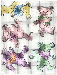 Watch This Video Incredible Crochet a Bear Ideas. Cutest Crochet a Bear Ideas. Naughty Cross Stitch, Cute Cross Stitch, Beaded Cross Stitch, Funny Cross Stitch Patterns, Cross Stitch Designs, Loom Patterns, Embroidery Patterns, Grateful Dead Dancing Bears, Stitch Witchery