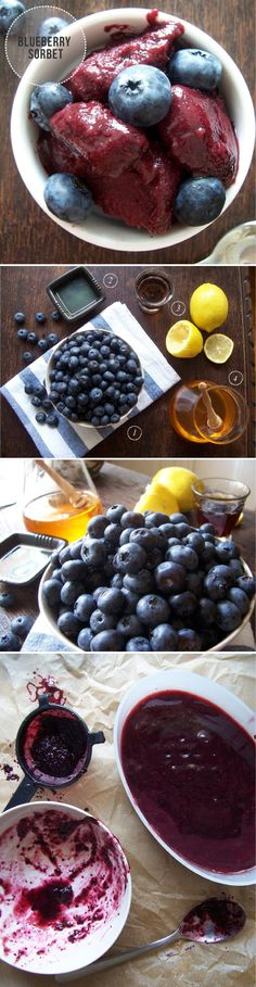 Homemade blueberry sorbet (with honey and lemon)
