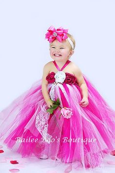 Hot Pink and White Vintage Style Tutu Dress 12 months by lovebug11, $54.00