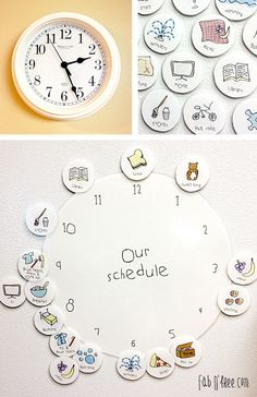 Free Printable helps young children understand the concept of time, become familiar with a hand clock, and a basic schedule. If you have your child help you set the schedule for the next day, it begins to hold them accountable and helps slow the arguing when it is time for chores, bed, or other undesirable activities!