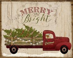 Truck Christmas, Happy Holidays, printable - Craft For Teenagers Creative Christmas Red Truck, Christmas Picks, Christmas Jingles, Christmas Tree Farm, Primitive Christmas, Country Christmas, Christmas Canvas, Christmas Paintings, Christmas Art