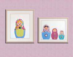 Girl nursery art print. Matryoshka Dolls Print. Set of by Wallfry, $30.00