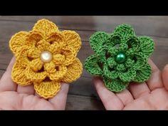 crochet knit flower making Crochet Brooch, Knit Crochet, Crochet Earrings, Crochet Hair Accessories, Crochet Hair Styles, Learn To Crochet, Crochet For Kids, Crochet Flower Tutorial, Crochet Bedspread