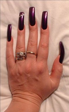 Perfection!  #DivaNails  Perfection! Long French Nails, Long Red Nails, Long Fingernails, Long Acrylic Nails, Purple Nails, Perfect Nails, Gorgeous Nails, Pretty Nails, Amazing Nails