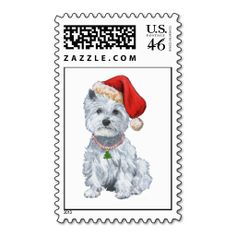 West Highland White Terrier Santa Claus Postage Stamps #westies #christmas