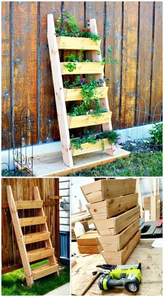15 DIY Ladder Planter Plans DIY Vertical Planter Ideas is part of Diy planters DIY Vertical Gardens that would make a super beautiful vertical garden for any of your particular space and will al - Plantador Vertical, Jardim Vertical Diy, Vertical Garden Diy, Vertical Planter, Verticle Herb Garden, Vertical Gardens, Easy Garden, Vegetable Gardening, Diy Planter Box
