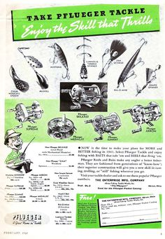 Old vintage fishing lure and reel ad, from 1952