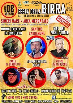Martedì 8 Agosto 2017 Festa della Birra SIMERI MARE Area Mercatale   PARTECIPAZIONE UFFICIALE COME OSPITI IN QUESTO GRANDE EVENTO - INGRESSO GRATUITO - ESPOSiZIONE VETTURA GRATUITA  Qui sotto il programma:  Birra Salsiccia Musica e intrattenimento Made in Calabria Esibizione di auto e moto d'epoca  PROGRAMMA Ore 17.00 Apertura Stand Ore 19.00 MAGO XAVIER con spettacolo per grandi e piccini, palloncini modellabili  Ore 21 concerto Santino Cardamone  Ore 22.00 Concerto Mimmo Cavallaro Ore…
