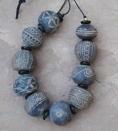 Antique Mali Clay Beads: Round 20x25mm by AfroBeadia on Etsy