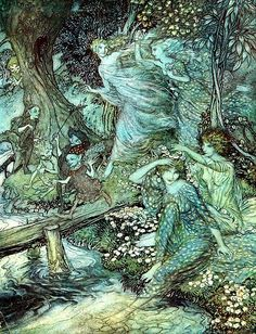 """enchantingimagery: """" By dimpled Brook, and Fountain brim/The Wood-Nymphs, deckt with Daisies trim/Their merry wakes and pastimes keep. Arthur Rackham, illustration for John Milton's Comus. Arthur Rackham, Alphonse Mucha, Fantasy Kunst, Fantasy Art, Fairytale Art, Fairy Art, Faeries, Art Images, Fairy Tales"""