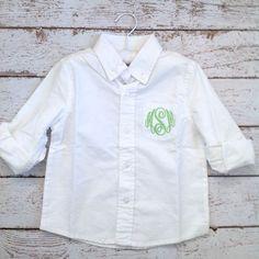 Flower Girl Gift Monogrammed Flower Girl Button Down Oxford Shirt by Elegant Monograms Www.elegantmonograms.com