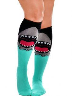 "Where were these during Shark Week??!?   Women's ""Jaws"" Rolled Knee Socks by Too Fast Apparel (Black/Blue) #InkedShop #socks #shark #kneehighs #accessories #style #fashion #cute"