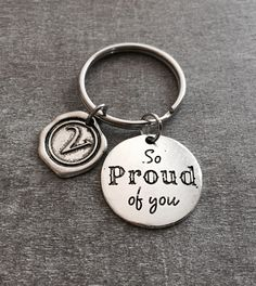 so proud of you, Congratulations, Well done, New Driver, Graduation Gift, Congratulations, Grad Gift, College Student, Silver Keychain by SAjolie, $16.95 USD